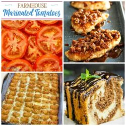 Meal Plan Monday #178 collage with marinated tomatoes, tater tot casserole, marbled cake, & pecan chicken