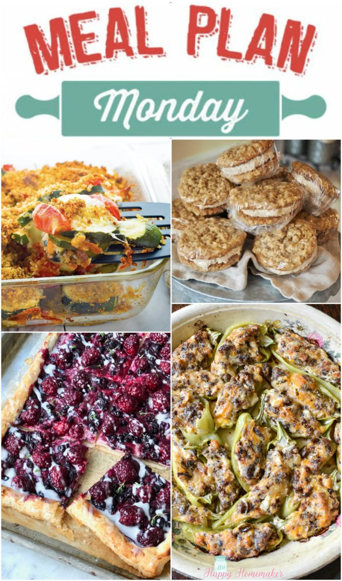 meal plan Monday collage with stuffed banana peppers, cookies, zucchini casserole, and a blackberry danish