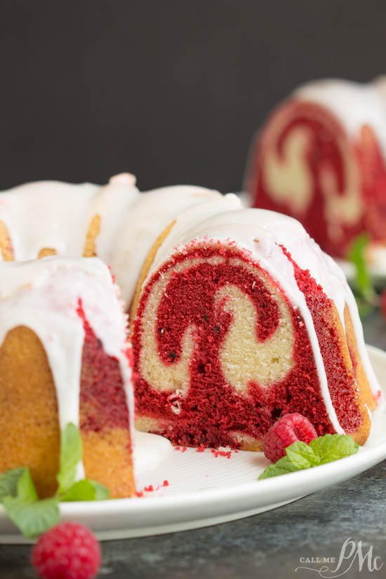 Vanilla Red Velvet Marbled Pound Cake