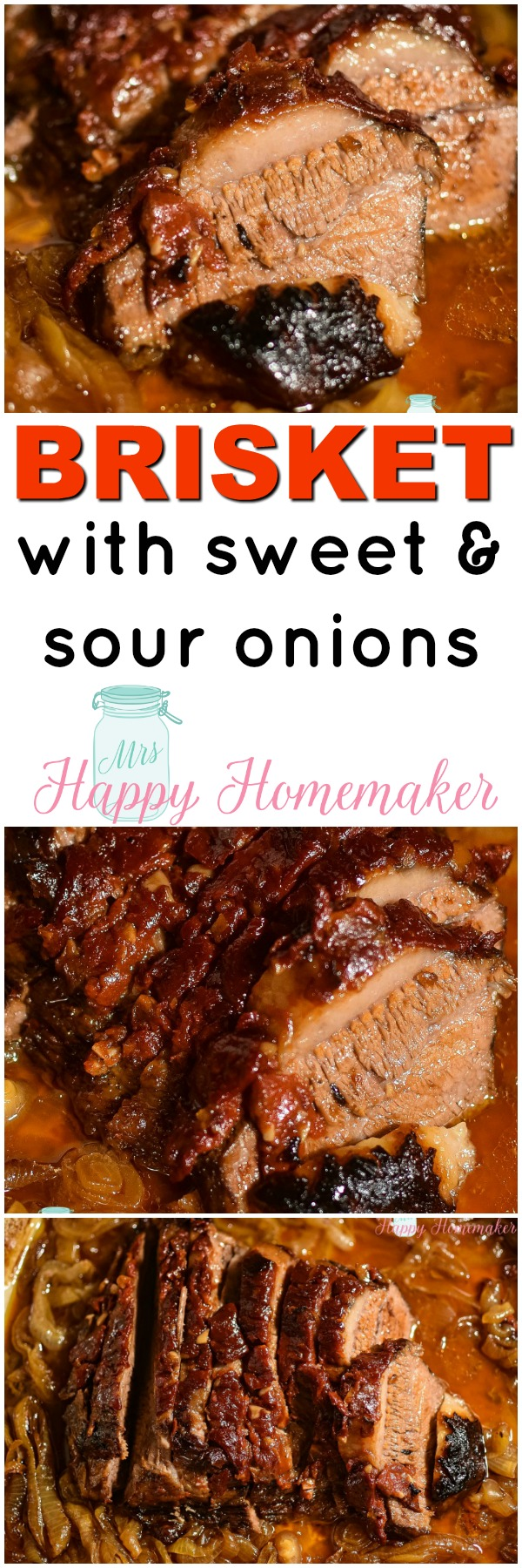 Brisket with Sweet & Sour Onions - this oven braised recipe requires only 7 ingredients & is absolutely amazing in flavor and tenderness.| MrsHappyHomemaker.com @MrsHappyHomemaker