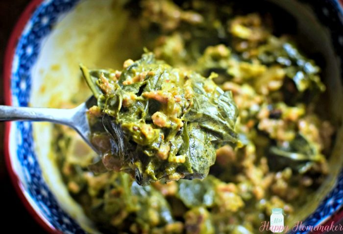 Spicy Sausage Creamed Collard Greens