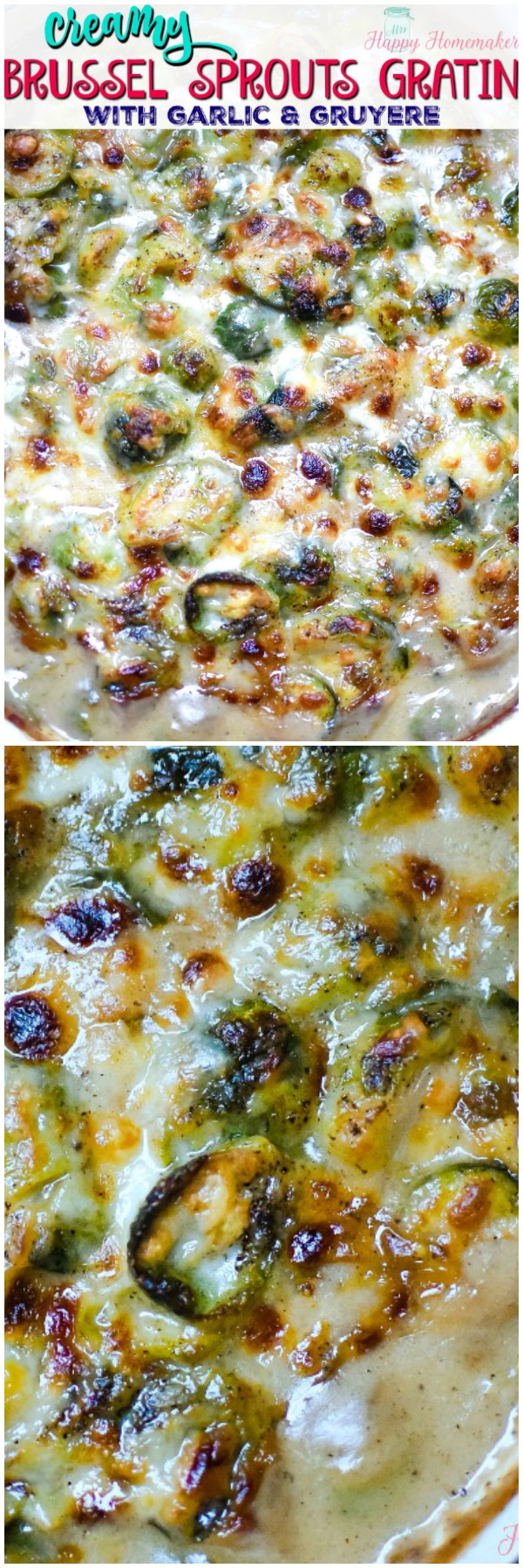 Brussels sprouts Gratin with creamy garlic gruyere cheese sauce
