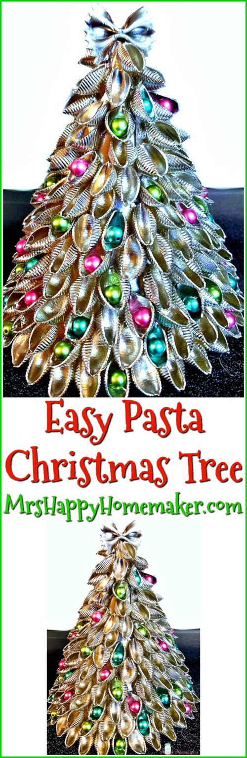 Easy Pasta Christmas Tree - a fun 5 ingredient Christmas craft DIY