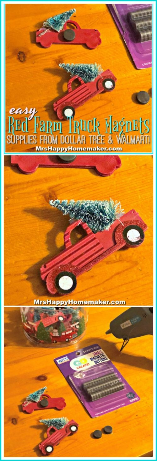 Christmas Red Farm Truck Magnets 5 minute Christmas craft 3 ingredients