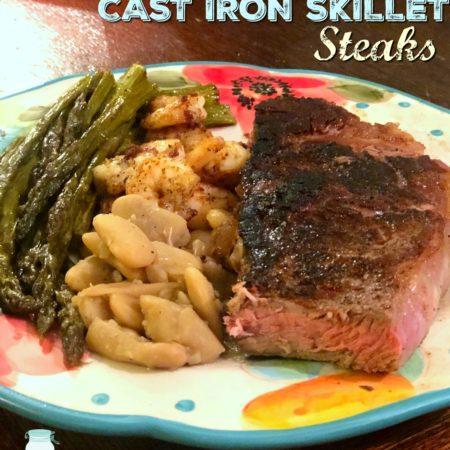 Foolproof Cast Iron Skillet Steaks | MrsHappyHomemaker.com @MrsHappyHomemaker #castironsteak #steak #castironcooking #castironskillet