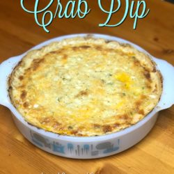 Hot Cheesy Crab Dip in a vintage round pyrex dish