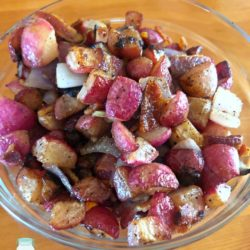 Bacon Fried Radishes in a bowl