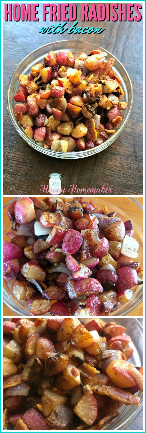 Home Fried Radishes with Bacon | MrsHappyHomemaker.com @MrsHappyHomemaker #friedradishes #homefries #keto #lowcarb #whole30 #radishes #bacon