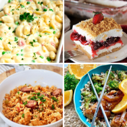 Meal Plan Monday collage of 4 recipes - Mac and cheese, cherry icebox pie, sausage and rice, and Chinese food