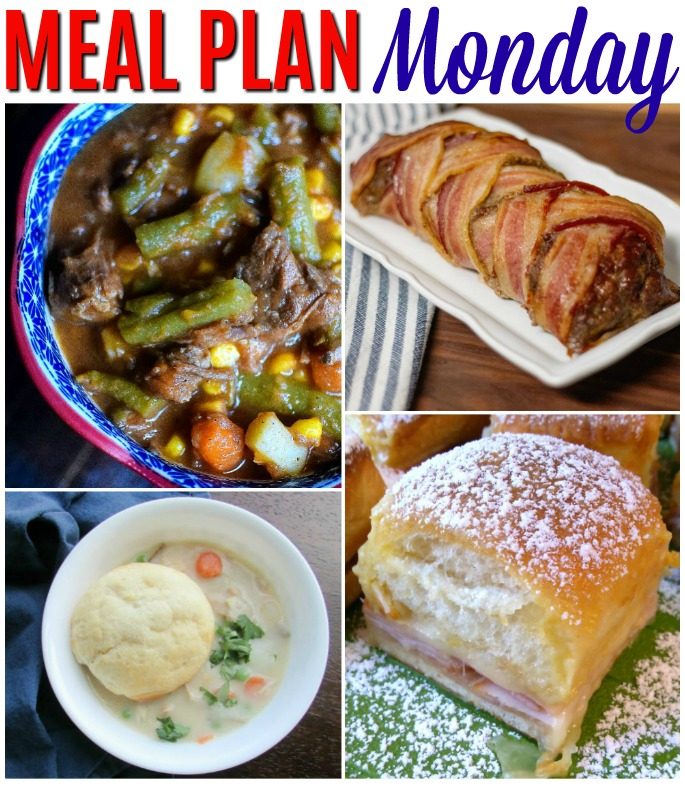Meal Plan Monday recipe collage of 4 food pictures