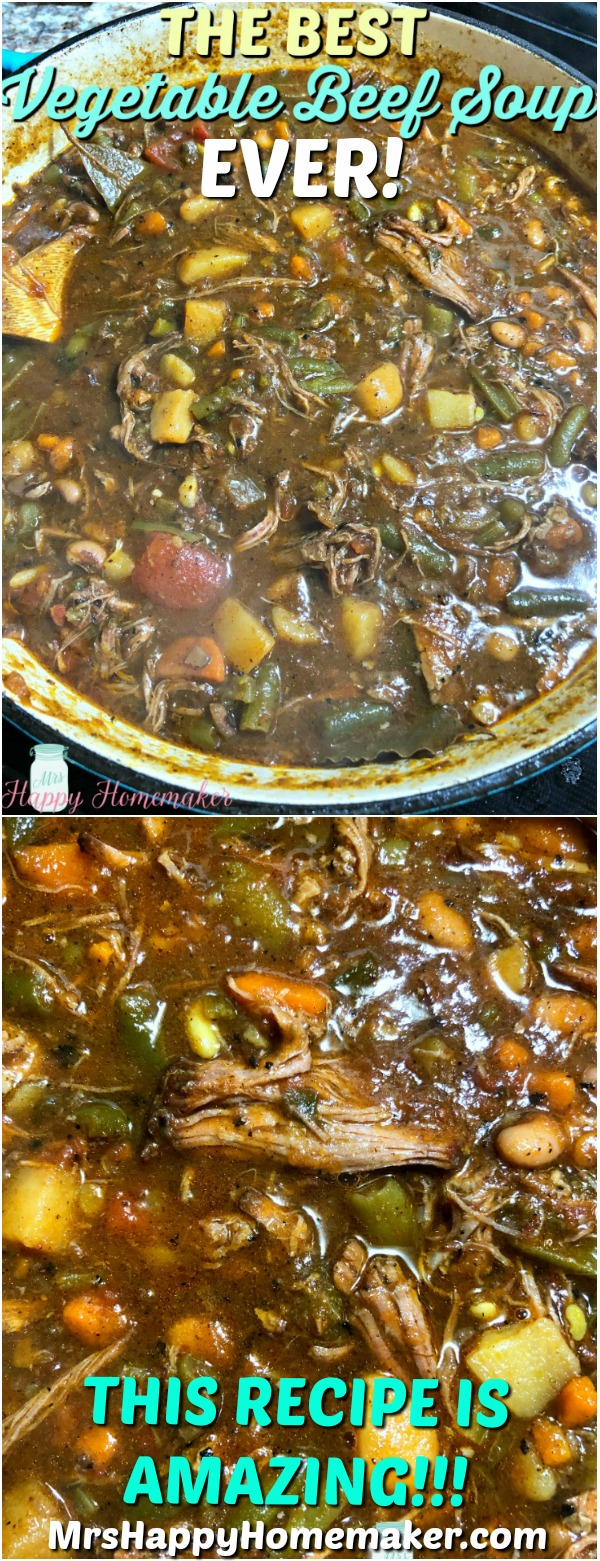 BEST EVER Vegetable Beef Soup - the stock is made from short rib bones, y'all! This recipe is absolutely amazing! | MrsHappyHomemaker.com @MrsHappyHomemaker #bestevervegetablebeefsoup #bestever #vegetablebeefsoup #soup #stew #beefstew #crockpot