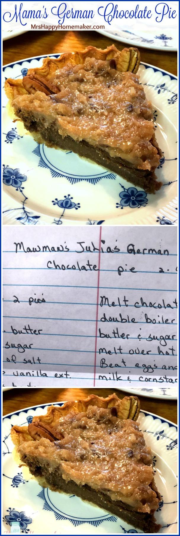 Mama's German Chocolate Pie - aka my most FAVORITE DESSERT IN THE ENTIRE WORLD! | MrsHappyHomemaker.com @MrsHappyHomemaker #germanchocolatepie #chocolatepie #pie #dessert #bestever