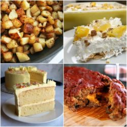 collage of potatoes, cake, pie, and meatloaf for meal plan Monday
