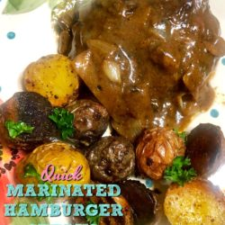 Quick Marinated Hamburger Steaks with Onion Mushroom Gravy
