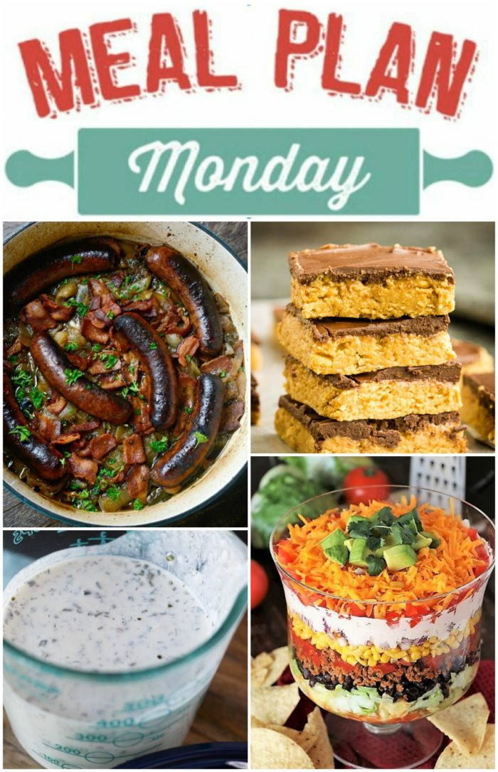 Meal Plan Monday collage of Dublin coddle, buckeye bars, dressing and layered salad