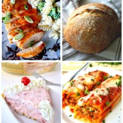 Collage of chicken, bread, pie, and manicotti