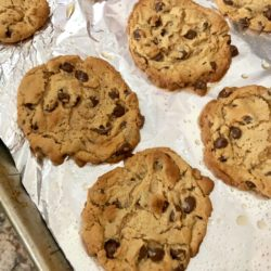 Flourless Peanut Butter Chocolate Chip Cookies on a baking pan