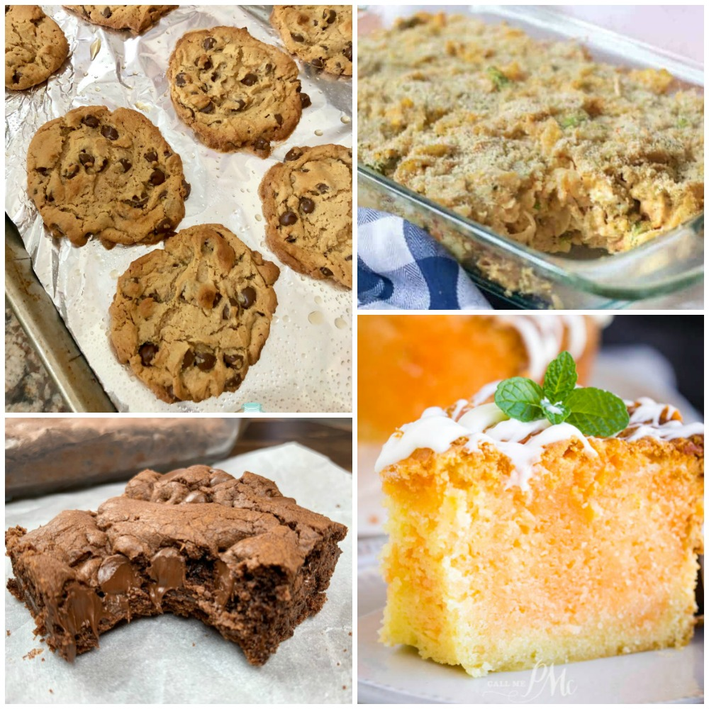 Meal Plan Monday Cover image with cookies, brownies, casserole and a cake