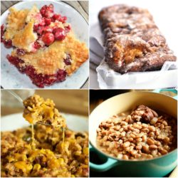 Meal Plan Monday Cover Image with Cobbler, Bread, Corn, and Beans