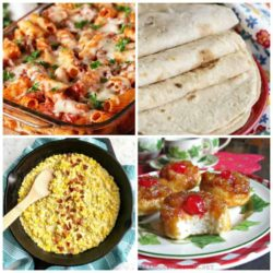 meal plan Monday featured collage image with pasta, tortillas, corn, and puffs