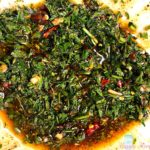Carrot Top Chimichurri Sauce in a white bowl