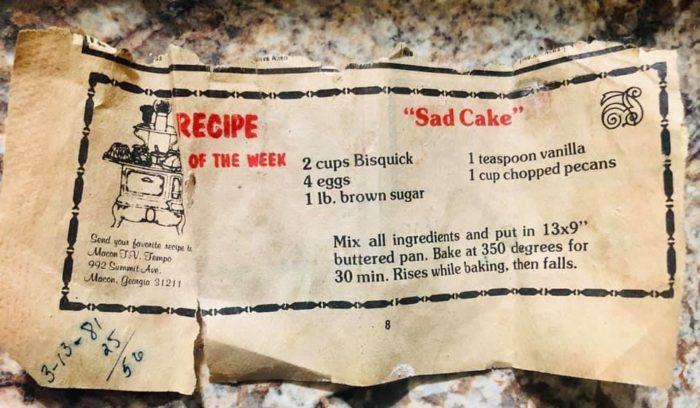 Newspaper recipe clipping for Sad Cake