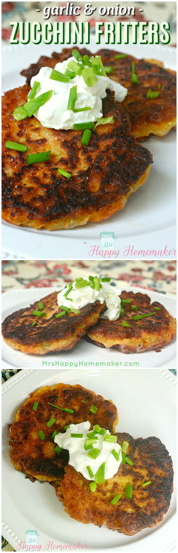 Easy Homemade Zucchini Fritters - they freeze great too! Love these!!!! Great way to use up all that zucchini from the garden