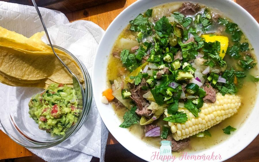 Caldo de Res with guacamole and corn tortillas