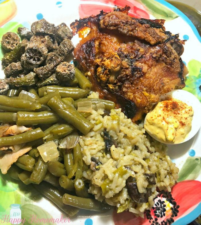 Cooked to Death Green beans with chicken, deviled egg, and fried okra