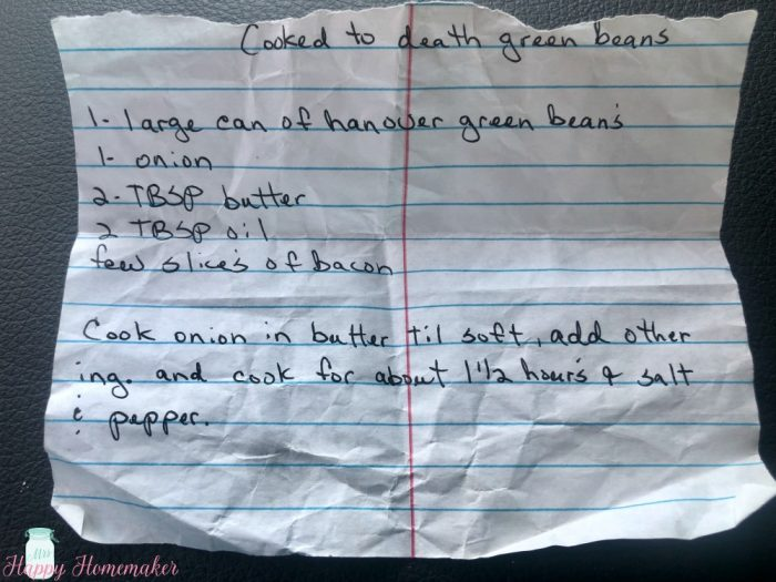 Mama's Cooked to Death Green Beans handwritten recipe on a piece of paper