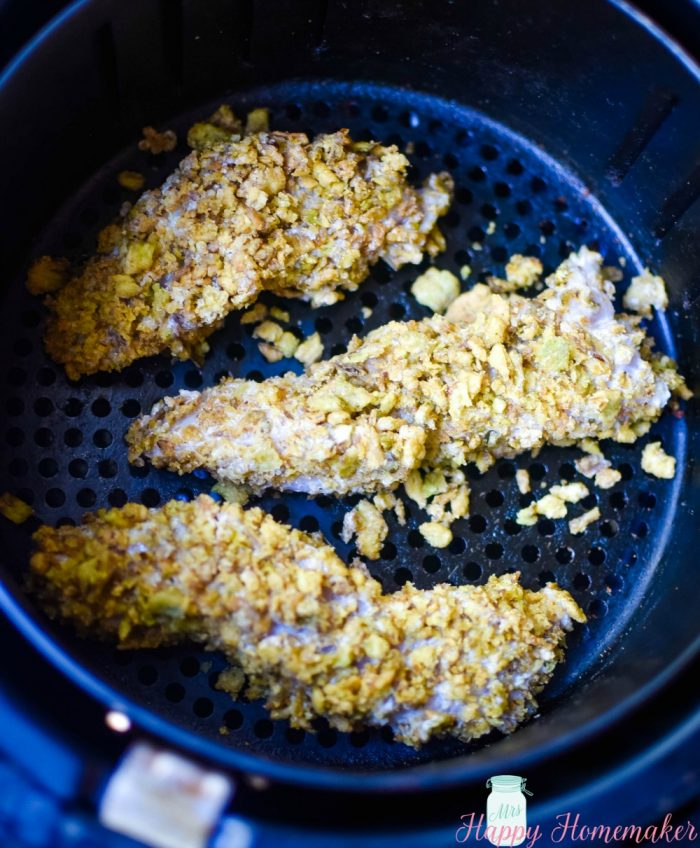 crispy jalapeno chicken fingers in the air fryer basket