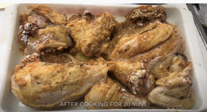 Baked chicken in butter and cream in a casserole dish