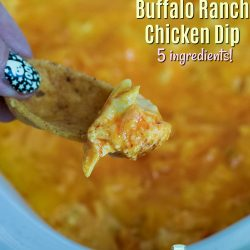 Cheesy Crockpot Buffalo Ranch Chicken Dip