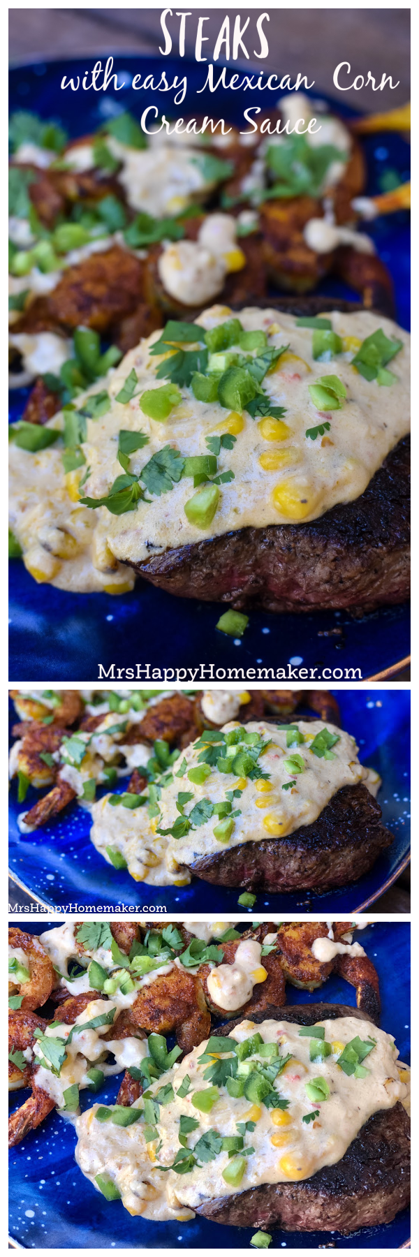 Steaks with Mexican corn cream sauce