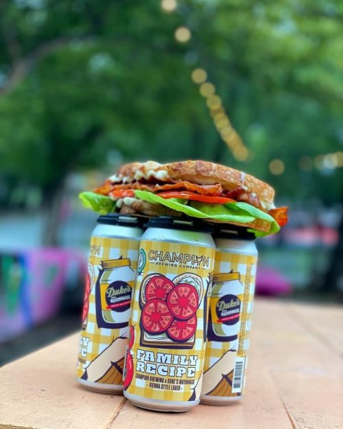 Dukes mayo beer with a blt on top