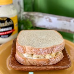 Banana and mayonnaise sandwich with dukes mayo