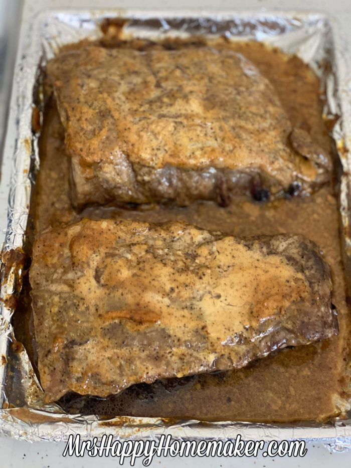Mayo crusted ribs after baking