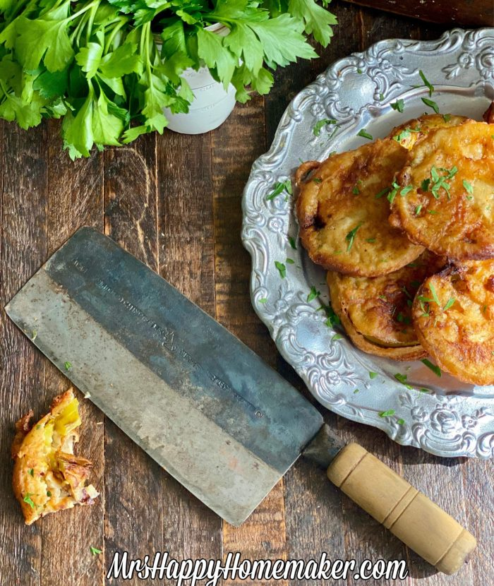 Fried Green Tomatoes with a knife
