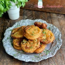Beer battered fried green tomatoes on a silver plate