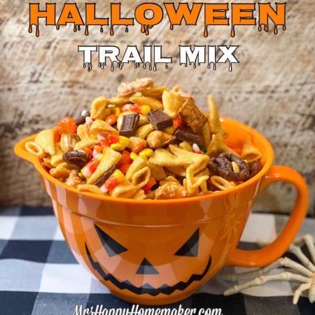Halloween trail mix in a jack o lantern bowl