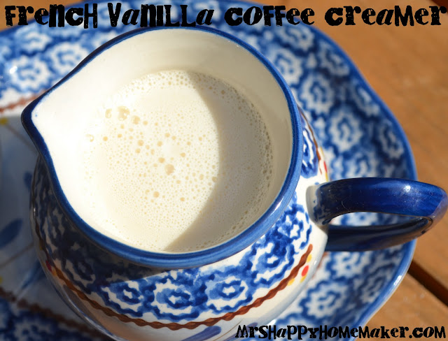 Homemade French Vanilla Coffee Creamer in a mini blue pitcher