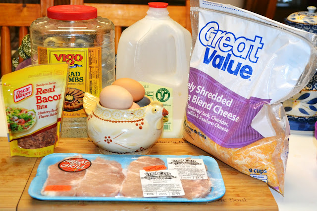 ingredients for bacon cheddar pork chops - pork, bacon, eggs, bread crumbs, milk, cheese