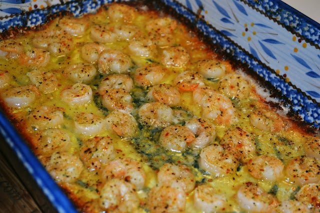 Shrimp Scampi in a casserole dish