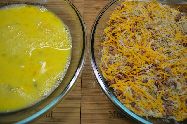 battering the bacon cheddar pork chops - egg wash on the left and breading on the right