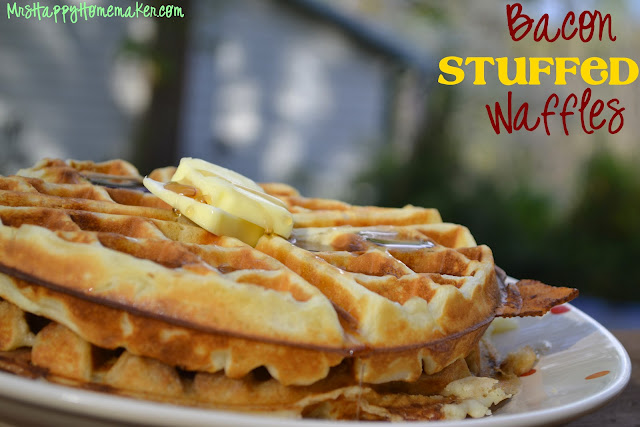 Brown Sugar Bacon Stuffed Waffles - Mrs Happy Homemaker