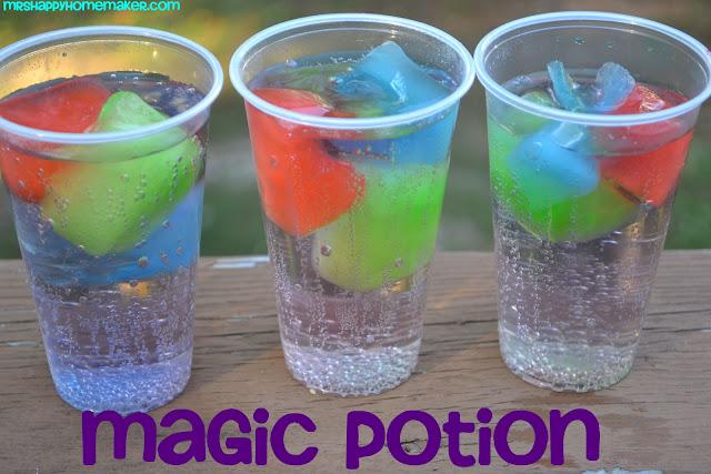 Magic Potion - sprite over multicolored KoolAid Ice Cubes