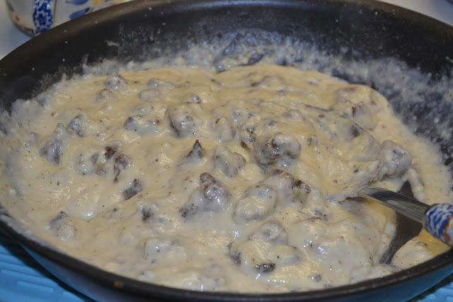 sausage gravy in a skillet