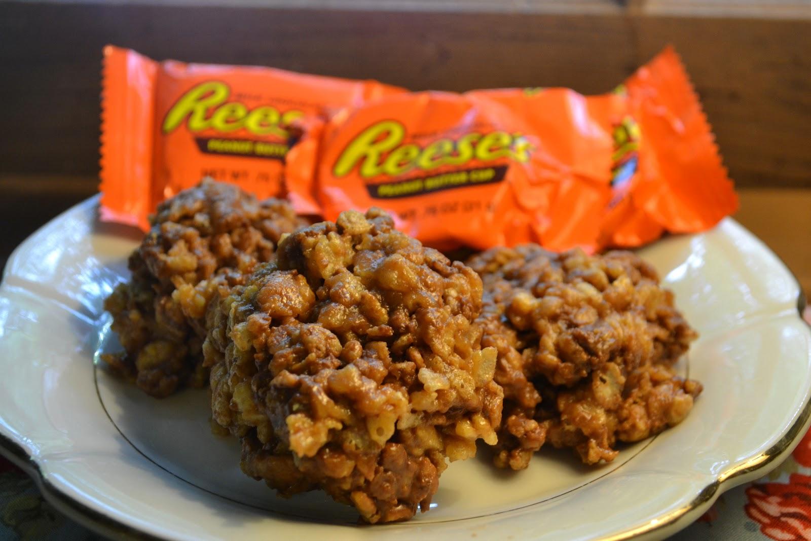 Reese's Cup Rice Krispie Treats - Mrs Happy Homemaker