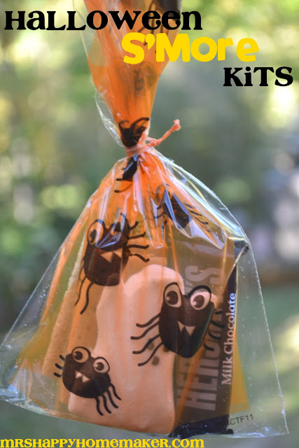 halloween smores kit - ghost peeps, graham crackers, and Hershey's bars