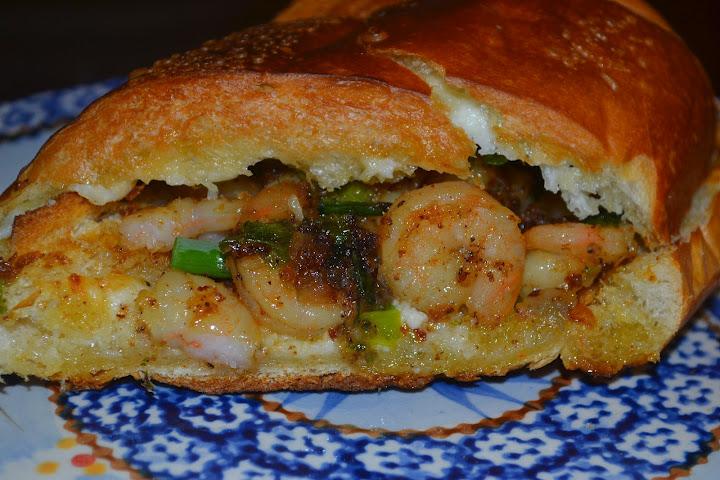 Shrimp Scampi Po Boys on Garlic Bread - Mrs Happy Homemaker